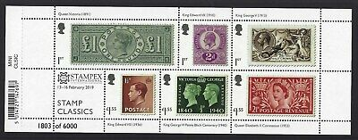 GREAT BRITAIN 2019 STAMP CLASSICS STAMPEX OVERPRINT No. 1803 MINIATURE SHEET,UM