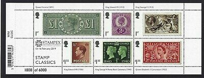 GREAT BRITAIN 2019 STAMP CLASSICS STAMPEX OVERPRINT No. 1808 MINIATURE SHEET,UM
