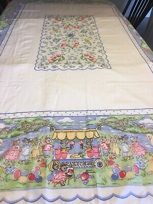 Vintage 1994 Avon Easter Bunnies and Eggs Fabric Tablecloth 58 X 82 - Good Cond.