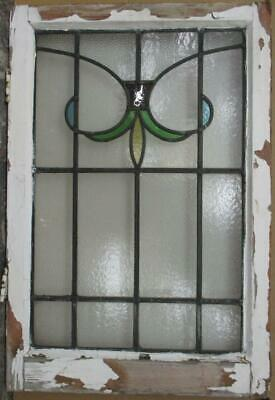 "MID SIZED OLD ENGLISH LEADED STAINED GLASS WINDOW Nice Abstract 20.25"" x 30.25"""