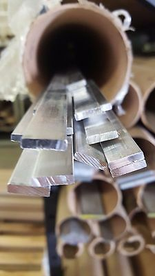 "(3 pcs) 1/8"" x 1/2"" Aluminum 6061 Flat Bar Mill Stock x 12"" Long"
