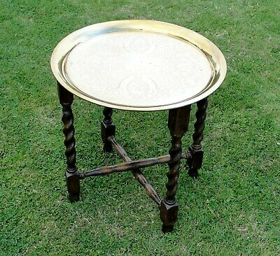 "1830s BRASS ""TRAY TOP"" FOLDIND SIDE TABLE with BARLEY TWIST LEGS in vgc"