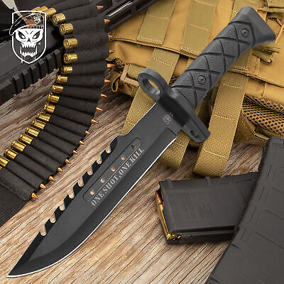 """14"""" COMBAT TACTICAL SURVIVAL HUNTING KNIFE w/ SHEATH MILITARY Bowie Fixed Blade"""