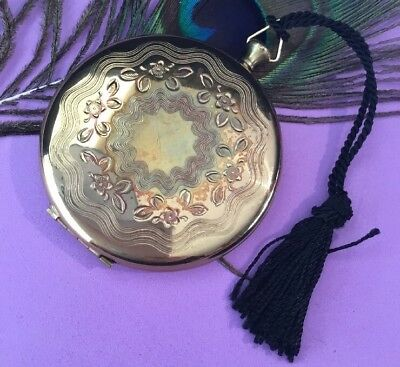 Vintage 50s Collectable Zell fifth Ave gold metal fob Tassel Powder Compact EC