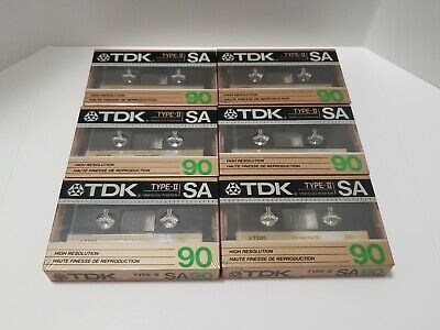 Lot Of 6 TDK SA90 Type-II High Resolution Cassette Tapes - New - Sealed