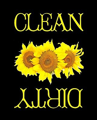 METAL DISHWASHER MAGNET Image Of Sunflowers Clean Dirty Dishes Flowers MAGNET