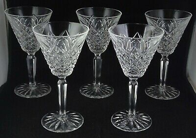 Set Of Five (5) Waterford Templemore Crystal Glass Claret Wine Goblets -- Signed