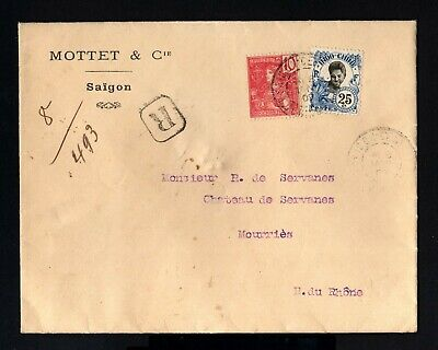 2316-INDOCHINE-REGISTERED COVER SAIGON to MOURRIES (france)1909 INDOCHINA.French