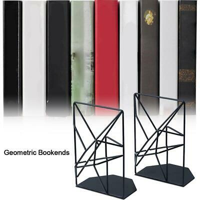 Metal Library Bookends Book Support Organizer Decor Heavy Duty Book Ends Black