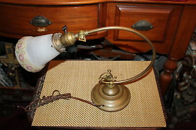 Antique Brass Metal Table Desk Lamp Curved Arm Flower Glass Shade