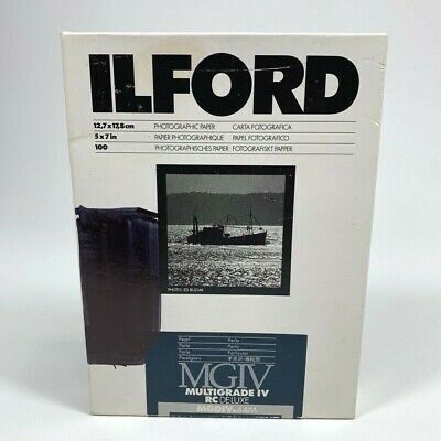 "Ilford Multigrade IV RC Deluxe Pearl Surface Paper 100 Sheets 5"" x 7"" NEW Opened"