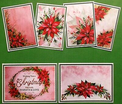 """""""Christmas Poinsettias"""" Card Toppers Mixed Sizes- A Great Variety X 6 Easy Cards"""