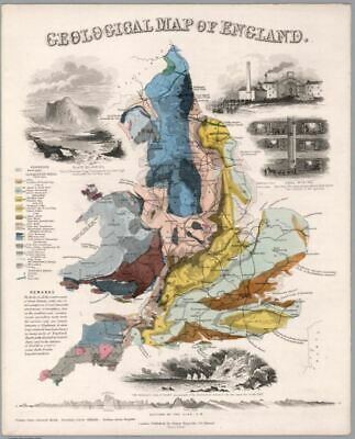 Vintage Map Poster - Geological Map of England (A4 and A3)