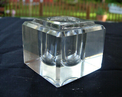 Vintage Antique Thick PRESSED GLASS INKWELL Beveled Edge all sides circa 1920-30