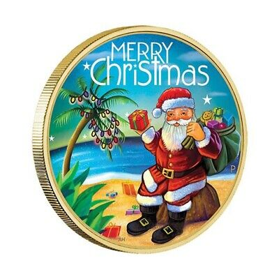 Australia 2015 Merry Christmas Santa Clause $1 Coloured UNC Coin Carded