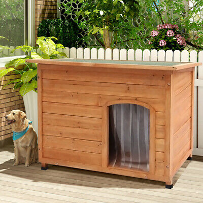 Insulated Large Dog Kennel Outdoor Wooden Pet Kennels House Winter Shelter Warm