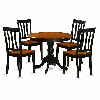 Antique Dining Set with 5 Pieces with 4 Solid Wood Chairs Black 5-Piece Sets