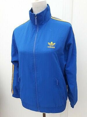 Vintage Adidas Youth Age 13 14 Blue Yellow Shell Tracksuit Top Teen Boys 164cm