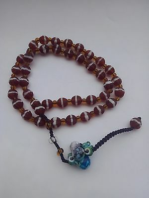 """28""""Ancient Chinese Peking Coloured Glaze Carved Bead Necklace"""