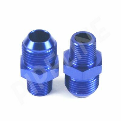 "2pcs AN10 Male Flare to Male 3/8"" NPT Straight Thread Fitting Adapter BLUE"