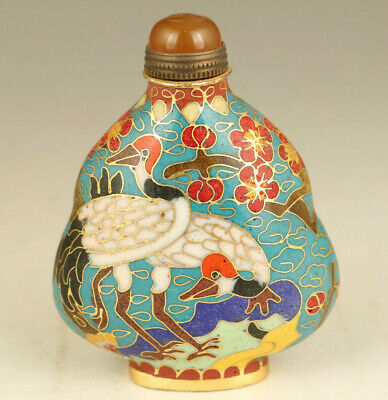 rare chinese old cloisone hand painting crane statue snuff bottle collectable