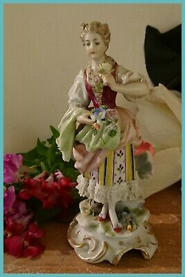 ANTIQUE DRESDEN LACE FIGURINE, Made in Germany.