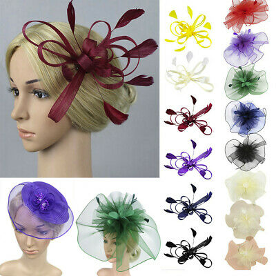 Fascinators Hat Flower Mesh Ribbons Feathers on a Headband Tea Party Headwear