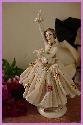 ANTIQUE DRESDEN LACE FIGURINE, By Furstenburg, Made in Germany.
