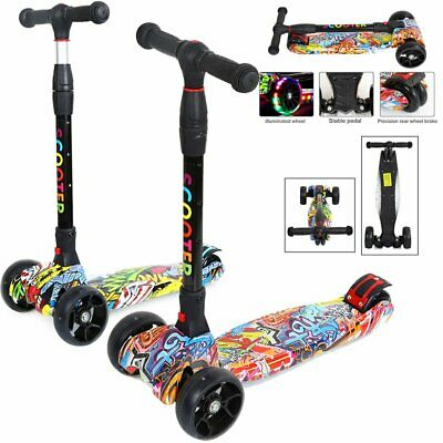 3 Wheel Kids Scooter Child Kick Flashing LED Light Up Push Adjustable Folding