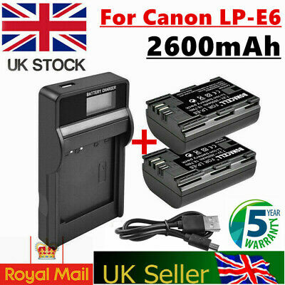 2x 2600MAH LP-E6 Battery+LCD Charger for Canon EOS 5D Mark III 80D 70D 7D 60D UB