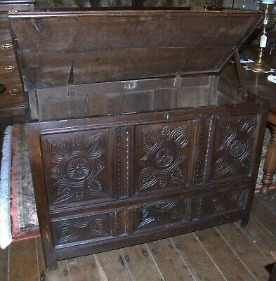 Antique carved oak Georgian COFFER blanket box mule chest peg jointed 127cms