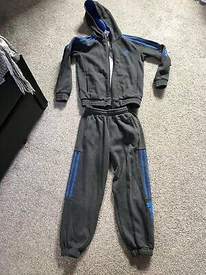 Adidas Grey And Blue Tracksuit