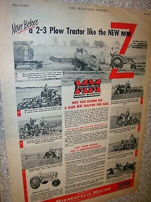 Vintage  Minneapolis Moline Advertising Page-Model Z Tractor -1952