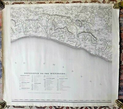 1825 Greenwood Sheet V Large Map Sussex Brighton Lewes Old Antique VERY SCARCE