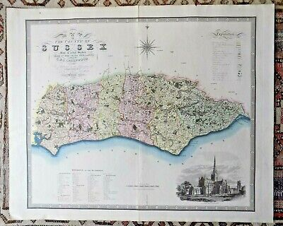 1829 Greenwood Map Sussex Old Antique Map Chichester Cathedral Brighton Lewes