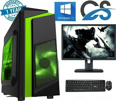 Gaming PC Computer Bundle Intel Quad Core i5 16GB 1TB Windows 10 2GB GT710 Win10