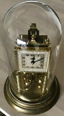 Vintage Schatz Timepiece Clock Glass Dome Square Face Germany For Repair / Parts