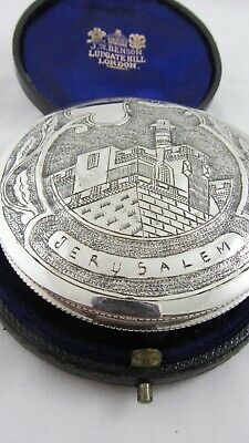 Vintage Silver Compact Repoussé Jerusalem Tower of David Citadel