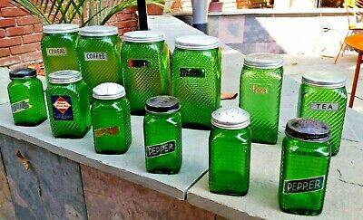 Vintage 12 Piece Lot Owens Illinois Forest Green Canisters 5 Different Sizes