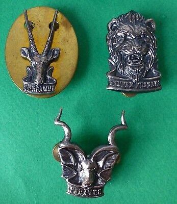 3 x SOUTH WEST AFRICA TERRITORY/REACTION/AREA FORCE ARMY ANIMAL1980s CAP BADGES