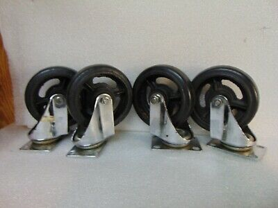 4 HEAVY DUTY CASTERS solid rubber wheels 300 POUND CAPACITY $29.95 free shipping