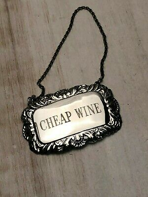 """Sterling Silver 'Cheap Wine"""" Bottle Tag/ Label on Sterling chain"""