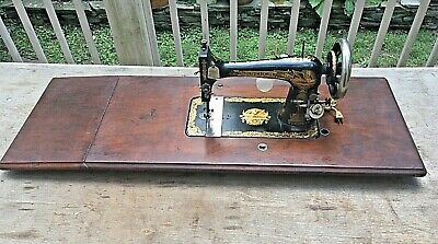 Vintage Singer Treadle Sewing Machine - Sphinx Graphics & Wooden Top-1892
