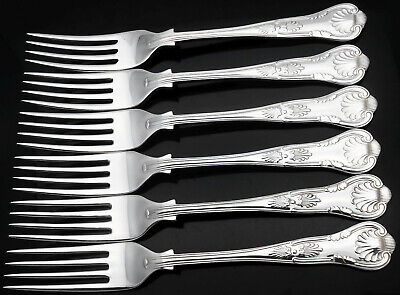 Kings Pattern - Set Of 6 Silver Plated Dinner / Table Forks - Vintage Sheffield