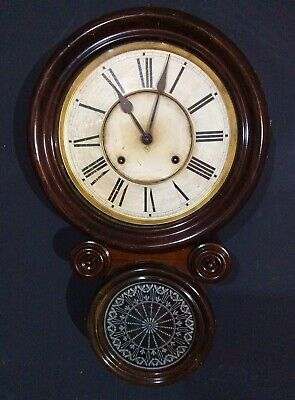 Large Mahogany Drop Dial wall clock