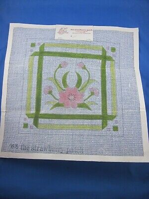 Painted Needlepoint Kit Canvas & Yarn Included Floral Green Border