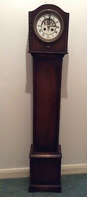Lovely Oak Cased Art Deco Grandmorther Clock With Visible Escapement