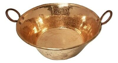 "100% Solid Copper Mexican Cazo Open Pot, 16"" Round X 7""D  Heavy 16 Gauge"
