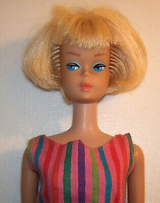 Vintage American Girl Rubia Barbie #1070 Bl Oss 1966 Centro Parte & Bangs