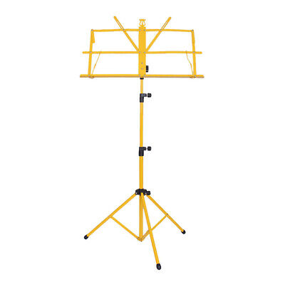 Metal Adjustable Sheet Music Stand Holder Folding Foldable with Bag Yellow